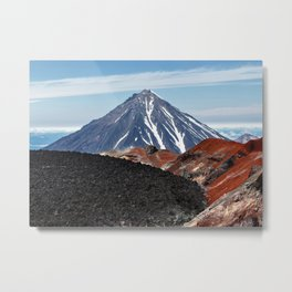 Panoramic volcanic landscape - crater active Avacha Volcano in Kamchatka Peninsula Metal Print