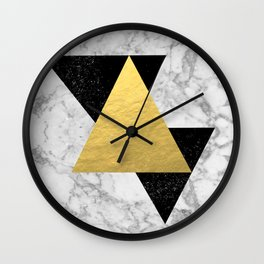 Marble Tri Black & Gold - gold foil, gold, marble, black and white, trendy, luxe, gold phone Wall Clock