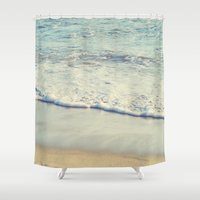 santa monica Shower Curtains featuring Santa Monica Beach  by SoCal Chic Photography