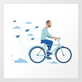 bird man bike Art Print