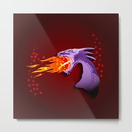 Purple Dragon breathing with fire Metal Print