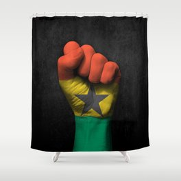 Ghana Flag on a Raised Clenched Fist Shower Curtain