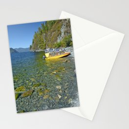 motor boats on the shore of a mountain lake Stationery Cards
