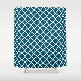 Teal blue and white curved grid pattern Shower Curtain