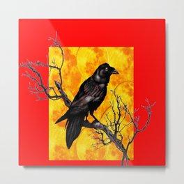 Oriental Style Red Crow Tree Art Metal Print