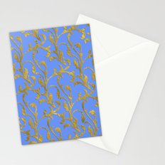 Queenlike on blue  I- gold ornament on blue backround- elegant pattern Stationery Cards