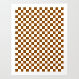 Small Checkered - White and Brown Art Print