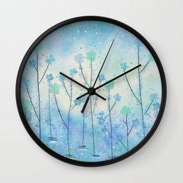 Blue Field of Flowers Wall Clock
