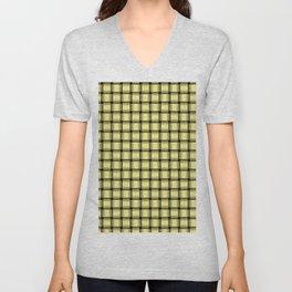 Small Khaki Yellow Weave Unisex V-Neck