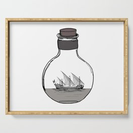 Antique Ship in a Bottle Serving Tray