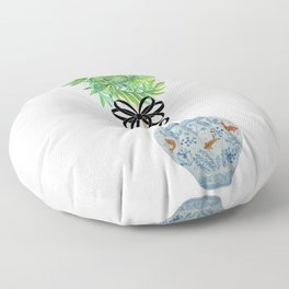 Topiary Topiaries Blue and White Ginger Jar  Floor Pillow