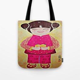 Chinese Girl with Mandarin Oranges Tote Bag