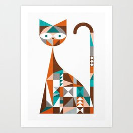 mid-century cat Art Print