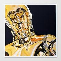 c3po Canvas Prints featuring C3PO by Laura-A