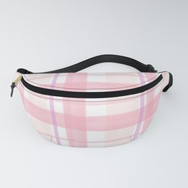 Abstract hand painted pink violet watercolor plaid Fanny Pack