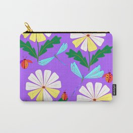 White Spring Daisies, Dragonflies, Lady Bugs lavender Carry-All Pouch