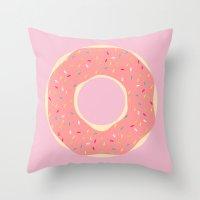 doughnut Throw Pillows featuring #93 Doughnut by MNML Thing