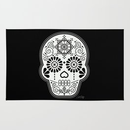 Día de Muertos Calavera • Mexican Sugar Skull – White on Black Rug