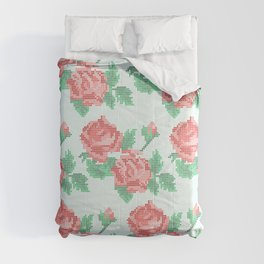 Cute Cross Stitch Roses on Blue Background Comforters