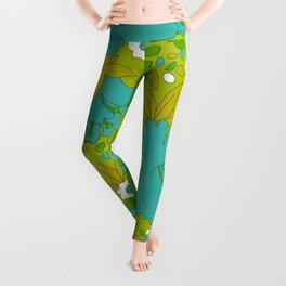 Green, Turquoise, and White Retro Flower Design Pattern Leggings