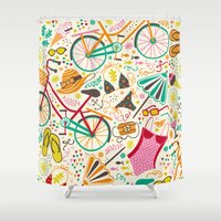 cycle Shower Curtains featuring Seaside Cycle by Anna Deegan