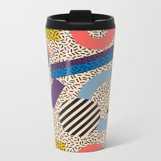 Memphis Inspired Pattern 3 Metal Travel Mug