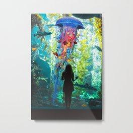 Electric Jellyfish World in an Aquarium Metal Print