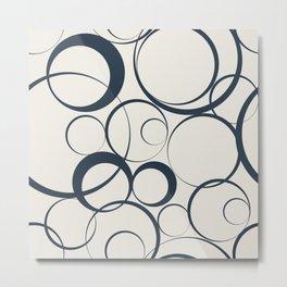 Dark Navy Blue Solid Color Funky Rings Pattern on Alabaster White - Aquarium SW 6767 Metal Print