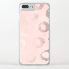 Rose Gold Pastel Pink Dot Circles Clear iPhone Case