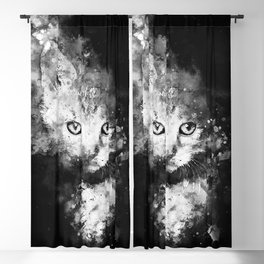 abstract young cat wsbw Blackout Curtain