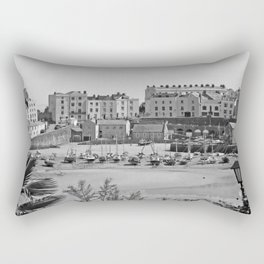 Tenby Harbour. Black+White. Reflection. Rectangular Pillow