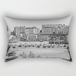 Tenby Harbour. Black+White. Reflection. Rectangular Pillow