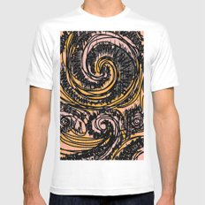 Swirls And Textures MEDIUM Mens Fitted Tee White