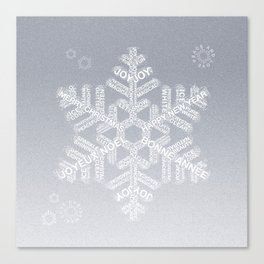 Typographic Snowflake Greetings - Silver Grey Canvas Print