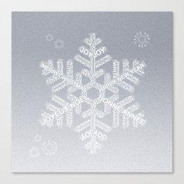 Typographic Snowflake Greetings - Silver Grey Canvas Print