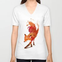 the clash V-neck T-shirts featuring Vulpes vulpes by Robert Farkas