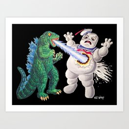 Godzilla vs Stay Puft Art Print