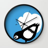 pigeon Wall Clocks featuring pigeon by marieclaire grafilles