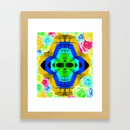 funny skull portrait with colorful roses in pink blue yellow green Framed Art Print