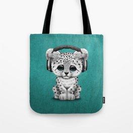 Cute Snow leopard Cub Dj Wearing Headphones on Blue Tote Bag