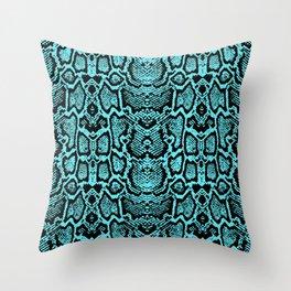 Blue Snake Skin Throw Pillow