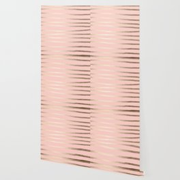 Abstract Drawn Stripes Gold Coral Light Pink Wallpaper