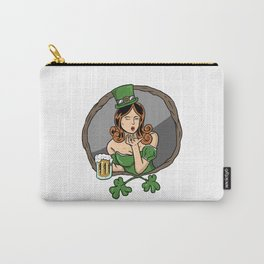 Funny St Patricks Day Girls Women With Beer Gift Carry-All Pouch