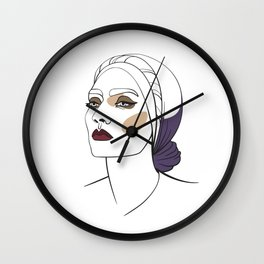 Woman in headscarf with smoky eyes. Abstract face. Fashion illustration Wall Clock