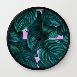 tropical green pattern on pink Wall Clock