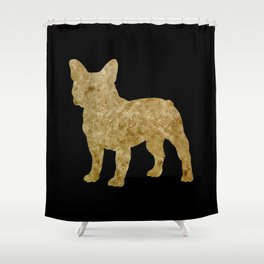 Golden Frenchie on black Shower Curtain