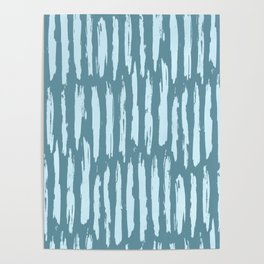 Vertical Dash Turquoise on Teal Blue Poster