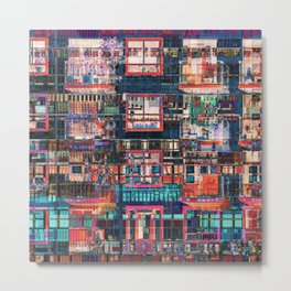 Colorful Buildings Collage Metal Print