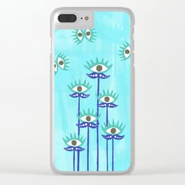 Evil Eye Nazar protective Garden Blue Clear iPhone Case