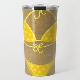 Yellow Polka Dot Bikini on Kraft Travel Mug